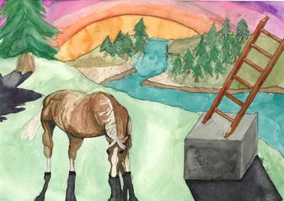 """Study with Horse, Cube and Ladder,"" Aaron Johnson"
